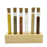 Подставка деревянная 6 пробирок коричневый Стеклоприбор
