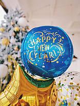 Коробка синя Новий рік з наклейкою Дід мороз на санях, фото 3