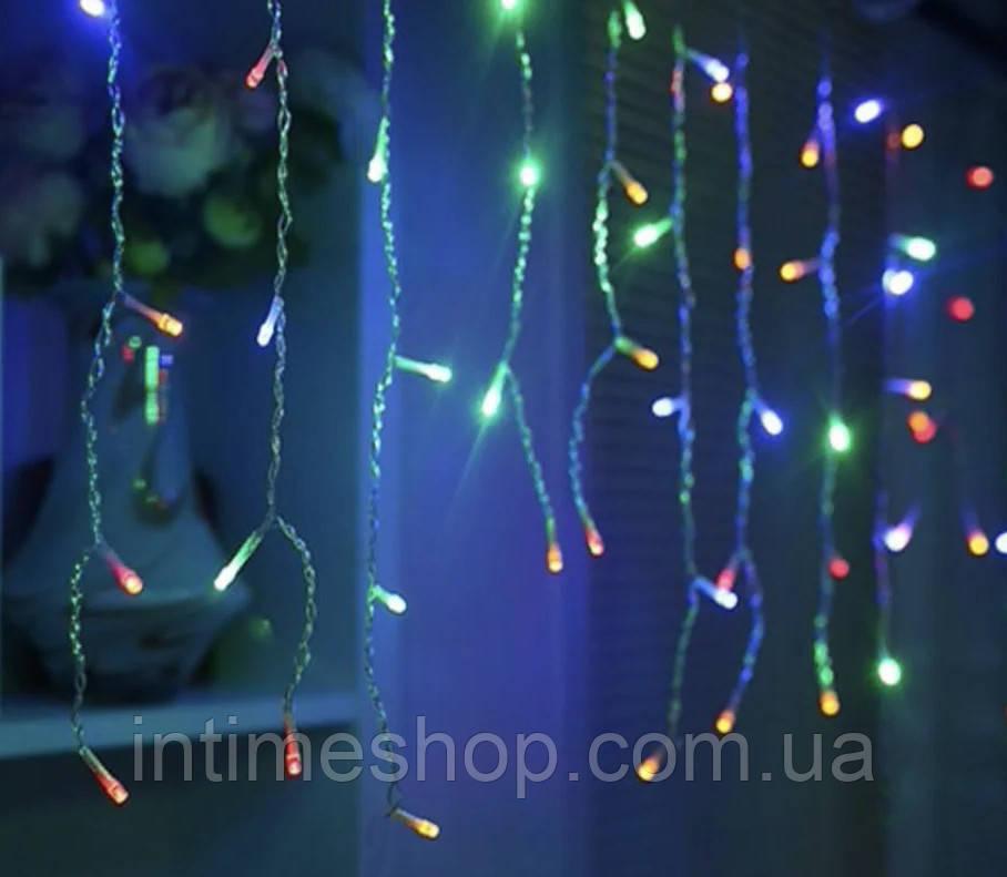 Led гірлянда новорічна 2.3 метра, 120 LED Різнокольорова, білий кабель, світлодіодна лід гірлянда   лед