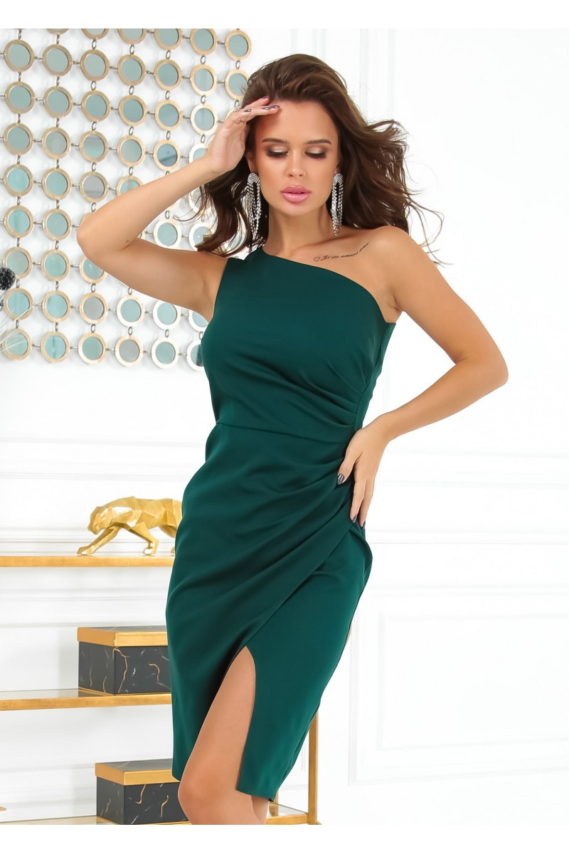 Черное вечернее короткое платье футляр на одно плечо 42,44,46,48 размер