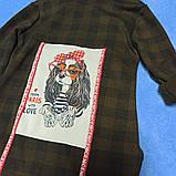 Кофта-рубашка теплая красивая для девочки с капюшоном. Рукав- трансформер. Сзади рисунок. Утеплитель- флис., фото 2