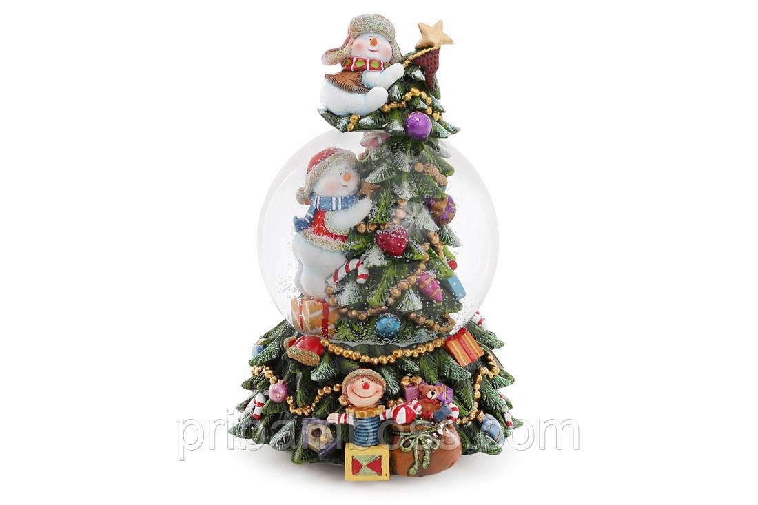 Декоративный водяной шар 18см Праздничная Елка с музыкой на заводном механизме