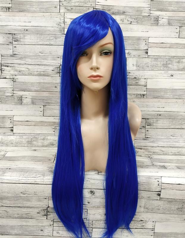 Длинные синие парики - 100см, прямые волосы, косплей, анимэ
