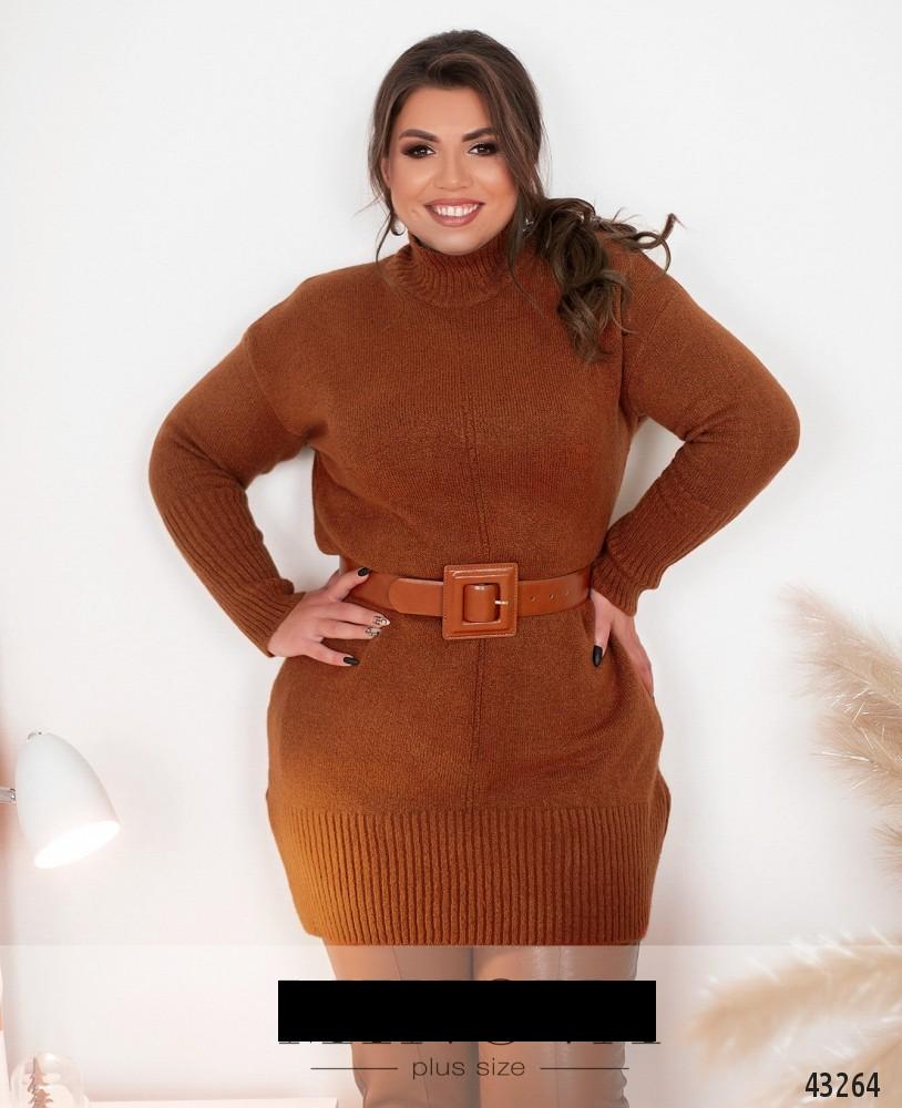 Женский свитер-туника с хомутом размер:50-56