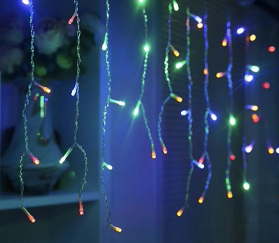 Led гірлянда новорічна 2.3 метра, 120 LED Різнокольорова, білий кабель, світлодіодна лід гірлянда | лед