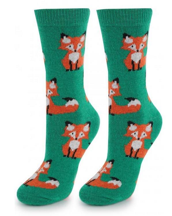 Теплые женские носки с лисятами (в расцветках)