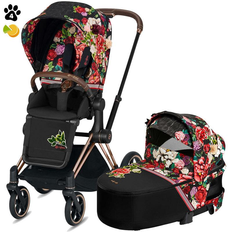 Коляска Cybex Priam 2 в 1 Spring Blossom Dark шасси Rose Gold