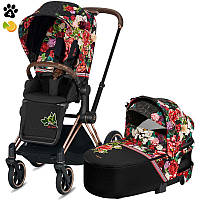 Коляска Cybex Priam 2 в 1 Spring Blossom Dark шасси Rose Gold, фото 1