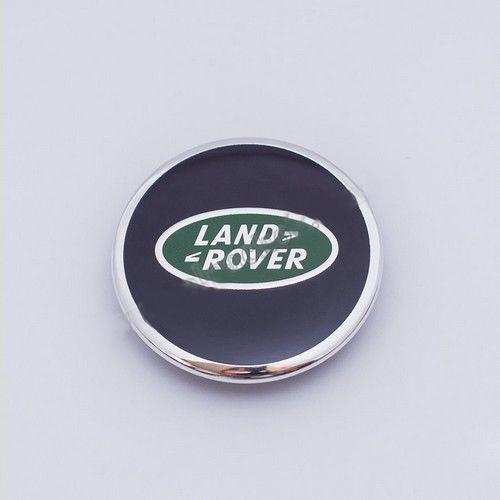 Колпачки в легкосплавные диски Land Rover черный/зеленый/плоский лого (62 мм)