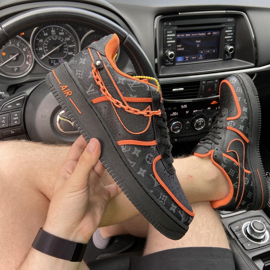 Nk, крос, обувь, взуття, sneakers, шузы, Air Force 1 Low Black Orange x L@uis Vuitt@n кроссовки, крос, обувь,