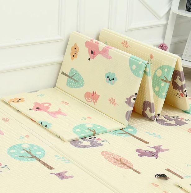 Вспененный детский развивающий коврик Children GO 180* 150 , двусторонний, с рисунками и текстурным покрытием