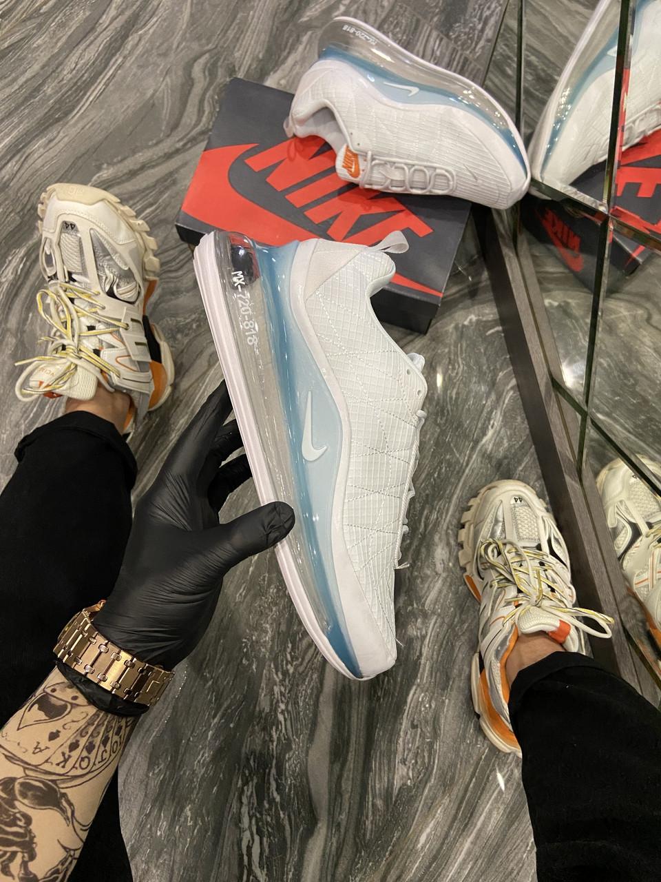 Nk, крос, обувь, взуття, sneakers, шузы, Air Max 720-818 White Idigo Fog (Серый)