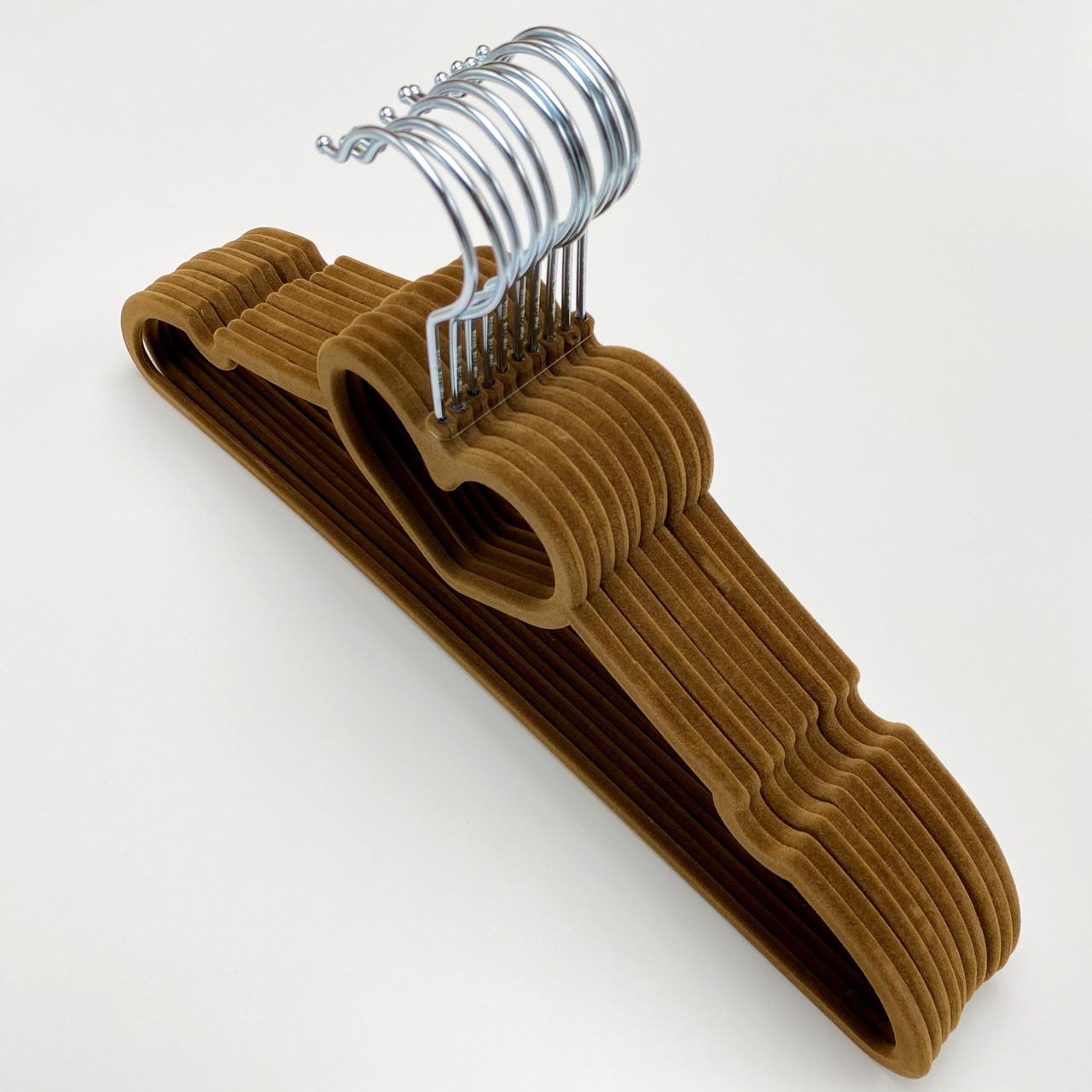 Флокированные плечики для одежды (бархатные, велюровые) коричневого цвета сердце, 10 штук