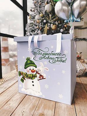 Коробка голубая Новый год и милый снеговик, фото 2