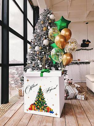 Коробка белая Новый год с нарядной елкой, фото 2