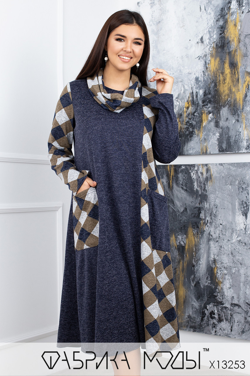 Комбинированное платье макси свободного кроя с круглым вырезом Размеры: 50-54, 56-60