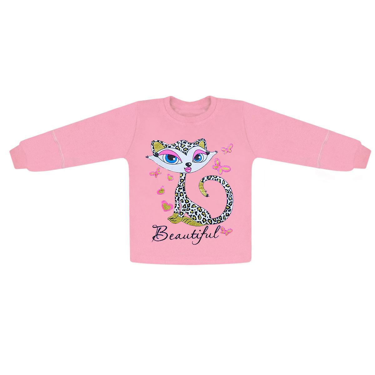 Детская домашняя кофта для девочки Кошечка интерлок
