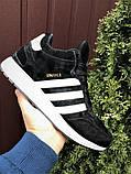 Зимние кроссовки Adidas Iniki мужские черные с белым (ботинки в стиле адидас иники), фото 4