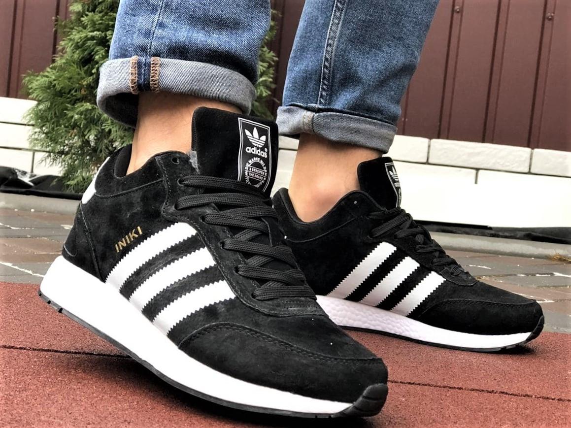 Зимние кроссовки Adidas Iniki мужские черные с белым (ботинки в стиле адидас иники)