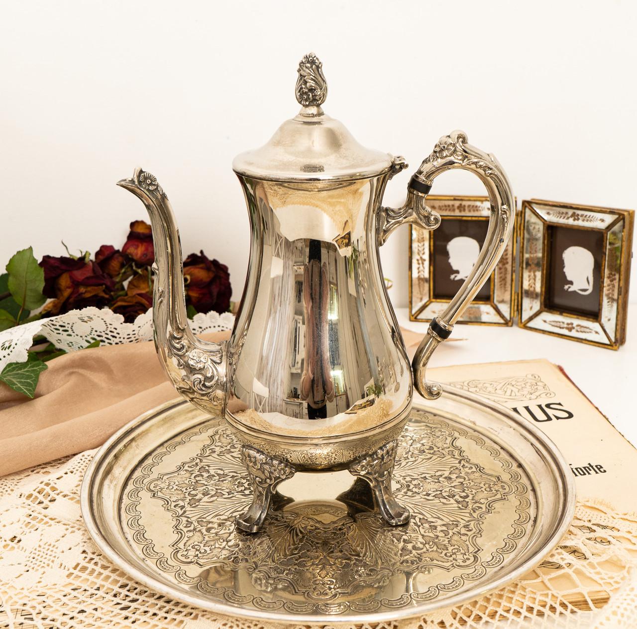 Посеребренный английский заварочный чайник на ножках, кофейник серебрение, мельхиор, Англия, 1,2 литра