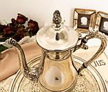 Посеребренный английский заварочный чайник на ножках, кофейник серебрение, мельхиор, Англия, 1,2 литра, фото 2