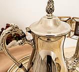 Посеребренный английский заварочный чайник на ножках, кофейник серебрение, мельхиор, Англия, 1,2 литра, фото 3