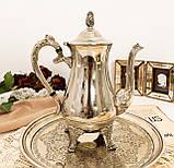 Посеребренный английский заварочный чайник на ножках, кофейник серебрение, мельхиор, Англия, 1,2 литра, фото 8