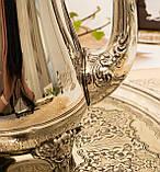 Посеребренный английский заварочный чайник на ножках, кофейник серебрение, мельхиор, Англия, 1,2 литра, фото 4