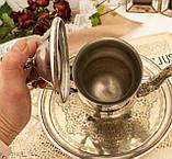 Посеребренный английский заварочный чайник на ножках, кофейник серебрение, мельхиор, Англия, 1,2 литра, фото 9