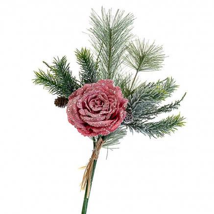 """Новогодняя ветка """"Роза"""" красная, фото 2"""
