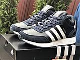 Темно-синие зимние кроссовки Adidas Iniki мужские  (ботинки в стиле адидас иники), фото 4
