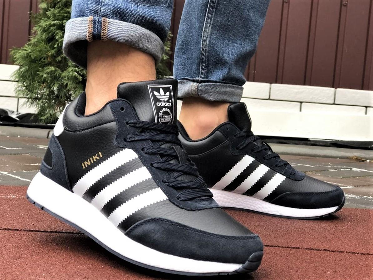 Темно-синие зимние кроссовки Adidas Iniki мужские  (ботинки в стиле адидас иники)