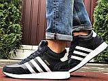 Темно-синие зимние кроссовки Adidas Iniki мужские  (ботинки в стиле адидас иники), фото 2