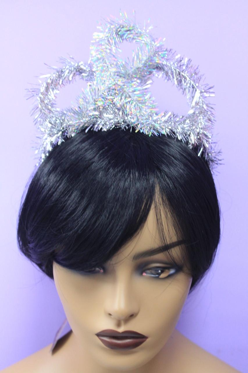 Новогодняя корона детская из дождика серебристая