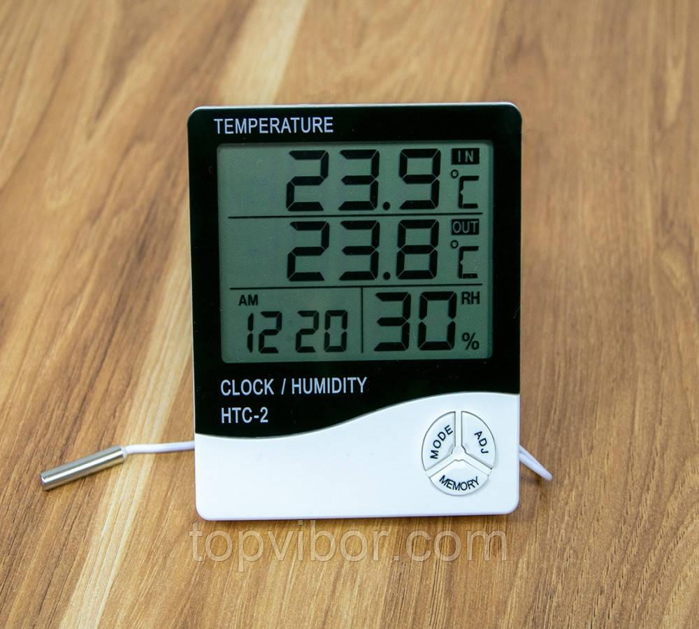 Гигрометр с выносным датчиком HTC-2, настольные часы с термометром и гигрометром | гігрометр електронний