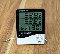 Гигрометр с выносным датчиком HTC-2, настольные часы с термометром и гигрометром | гігрометр електронний, фото 1