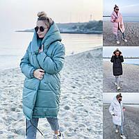 Р 42-46 Объемная куртка - пальто ОВЕРСАЙЗ плащевка лаке 20651