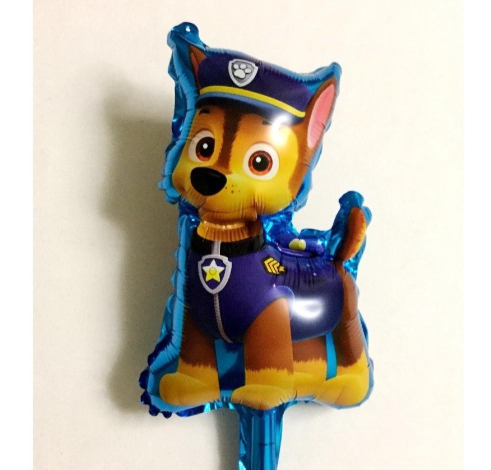 Фольгована кулька велика фігура собачка Гонщик синій 49х78см