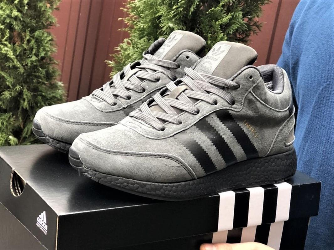 Зимние кроссовки Adidas Iniki мужские серые с черным (ботинки в стиле адидас иники)