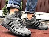 Зимние кроссовки Adidas Iniki мужские серые с черным (ботинки в стиле адидас иники), фото 5