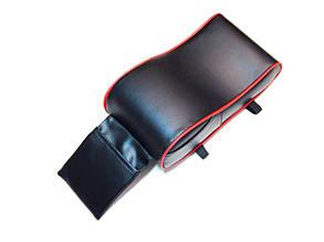 Подлокотник для салона автомобиля ZIRY искусственная кожа, чёрный с красным