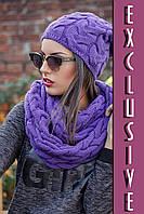 Стильный вязанный комплект (шапка + шарф-снуд), цвета в ассортименте