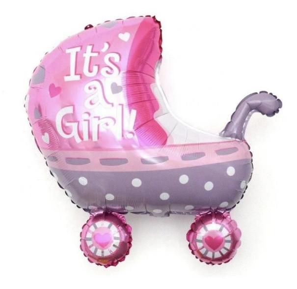 Фольгована кулька велика фігура Коляска It's a girl рожевий 70х71см