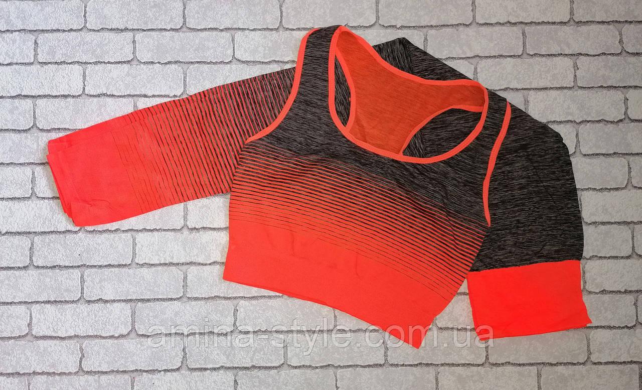 Женский костюм для фитнеса лосины + топ майка, размер 42-50