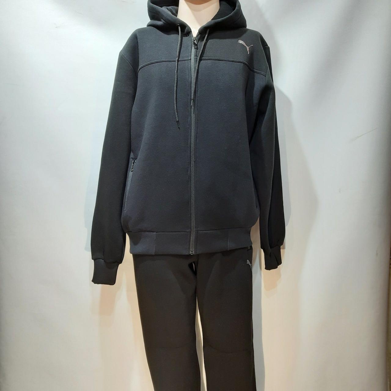 Спортивный костюм мужской (Больших размеров) теплый, с начесом с капюшоном Черный отличного качества