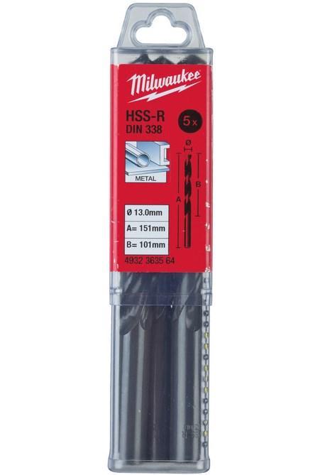 Сверло по металлу Milwaukee HSS-R DIN338, 13Х151 мм, 5 шт. (4932363564)