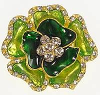 """Брошь """"Цветок с прокраской зеленой эмалью и стразами"""""""