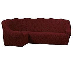 Жаккардовый чехол на угловой диван бордового цвета