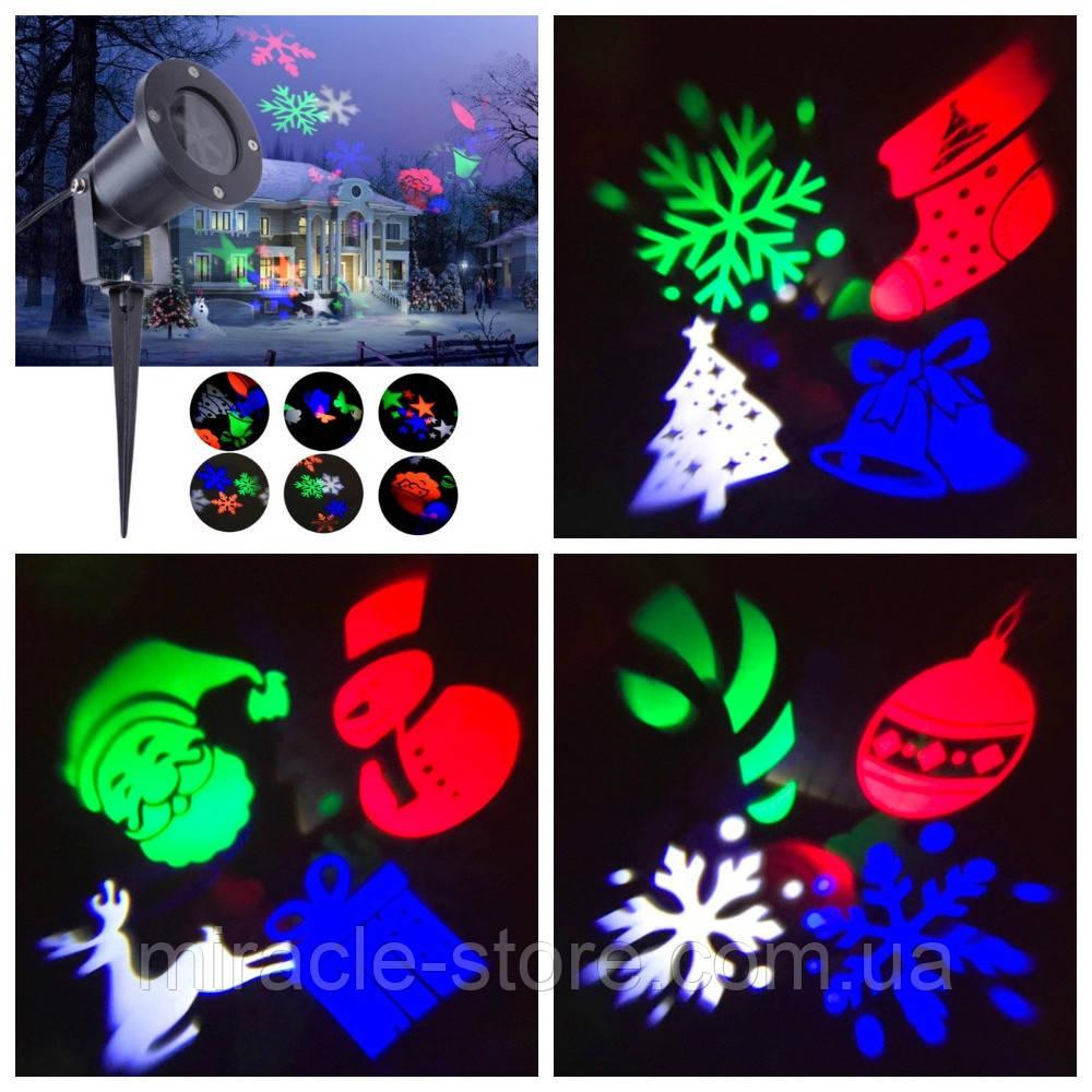 Уличный светодиодный лазерный проектор Festival Projection Lamp новогодние фигуры