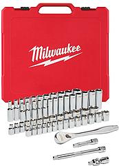 Набор метрических и дюймовых головок Milwaukee с воротком 3/8 дюйма 56 шт. (4932464946)